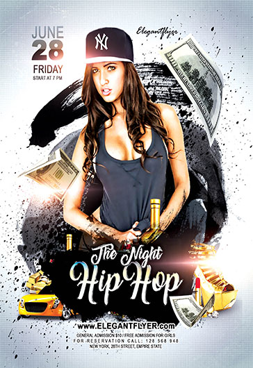 Night Hip Hop \u2013 Flyer PSD Template \u2013 by ElegantFlyer