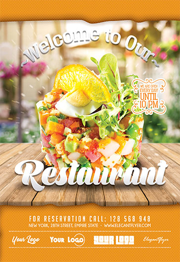 Free Restaurant Flyer Templates for Photoshop by ElegantFlyer