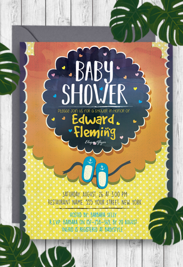 Baby Shower \u2013 Free Flyer PSD Template \u2013 by ElegantFlyer - baby shower flyer template free