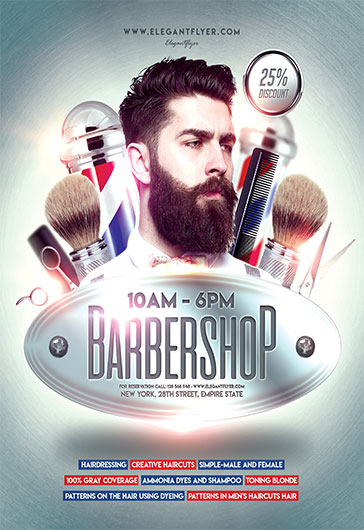 Vip Barbershop PSD Flyer \u2013 by ElegantFlyer
