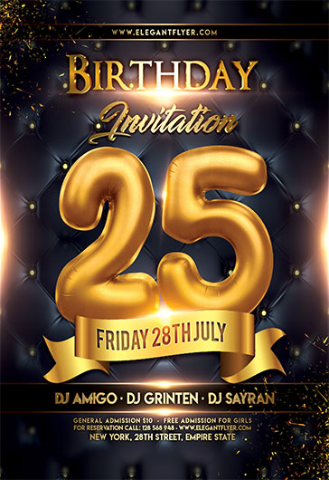 Birthday Invitation V02 \u2013 Flyer PSD Template \u2013 by ElegantFlyer - birthday flyer templates free