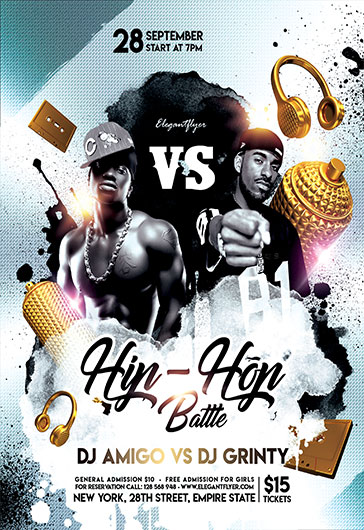 Hip-Hop Battle \u2013 Flyer PSD Template \u2013 by ElegantFlyer