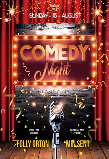 Stand up Comedy u2013 Free Flyer PSD Templates + Facebook Cover u2013 by - comedy show flyer template