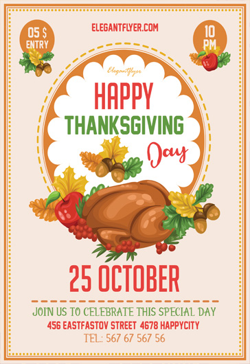 Free Thanksgiving Flyer Templates PSD by ElegantFlyer