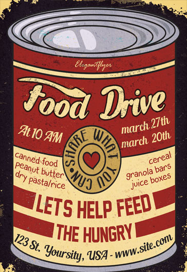 Food Drive \u2013 Free Flyer PSD Template \u2013 by ElegantFlyer