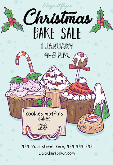 Christmas Bake Sale Template \u2013 by ElegantFlyer