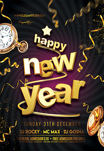 Free New Year Flyer Templates for Photoshop by ElegantFlyer - new year poster template