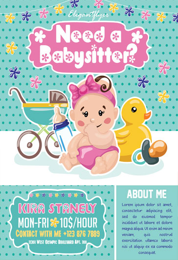 Babysitting Flyer Examples \u2013 by ElegantFlyer