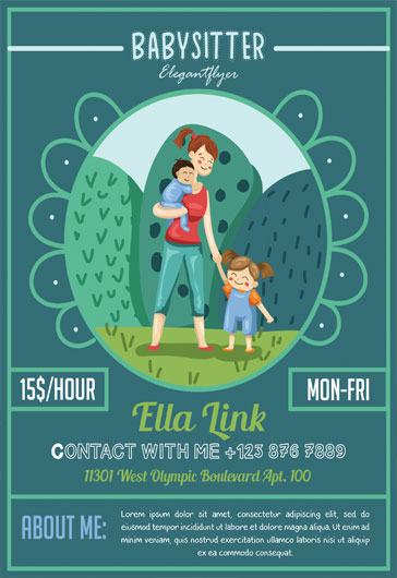Babysitter \u2013 Free Flyer PSD Template \u2013 by ElegantFlyer