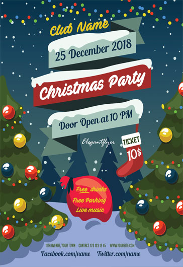 Free Christmas Flyer Templates in PSD by ElegantFlyer - holiday party flyer template