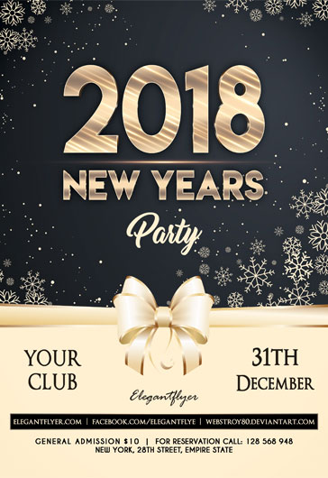 Happy New Year Snow PSD Flyer \u2013 by ElegantFlyer - new years party flyer