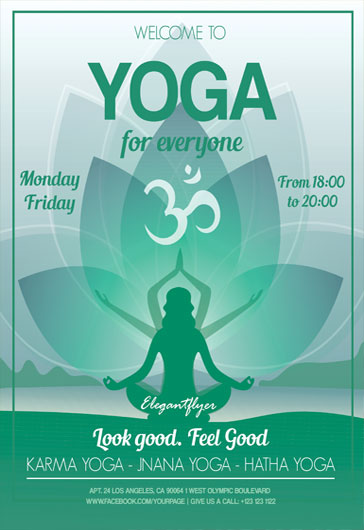 Template for Green Lotus Yoga \u2013 by ElegantFlyer - yoga flyer