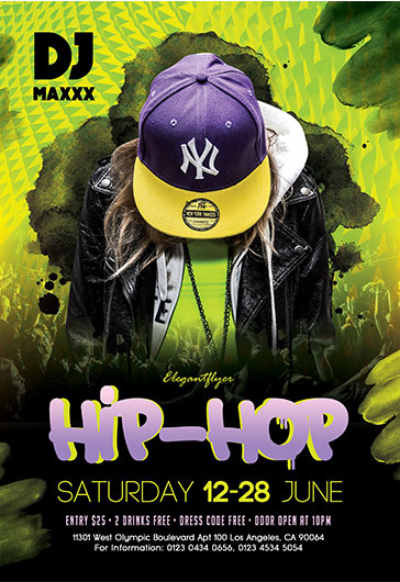 Hip-Hop \u2013 Flyer PSD Template \u2013 by ElegantFlyer