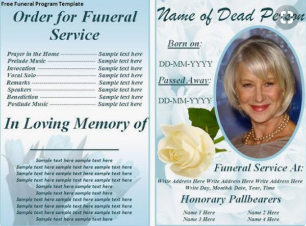 Funeral  Memorial Programs 20 Free PSD Templates to Celebrate the - memorial program