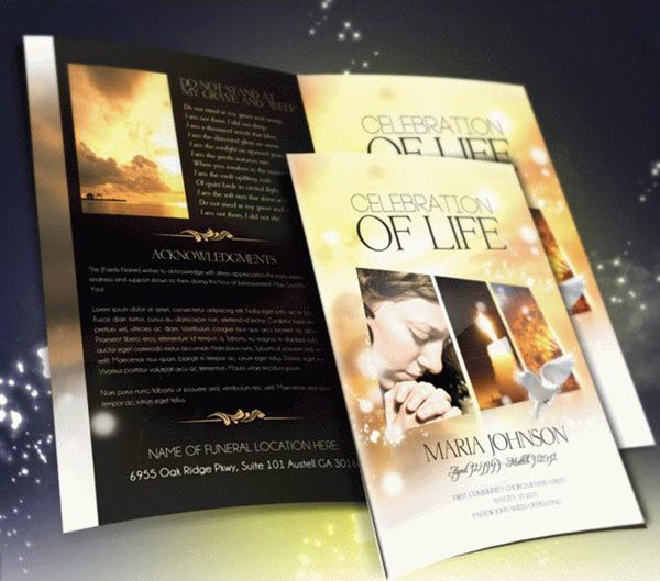 Funeral  Memorial Programs 20 Free PSD Templates to Celebrate the - funeral brochure template