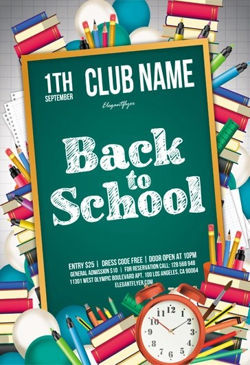 Free Back to School Flyers Templates for Photoshop by ElegantFlyer - back to school flyers