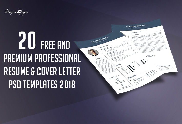20 Free and Premium Professional Resume  Cover Letter PSD Templates