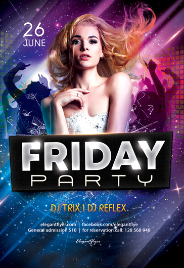 Friday Party \u2013 Free Flyer PSD Template \u2013 by ElegantFlyer