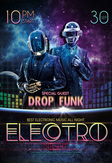 Electro night \u2013 Free Flyer PSD Template \u2013 by ElegantFlyer
