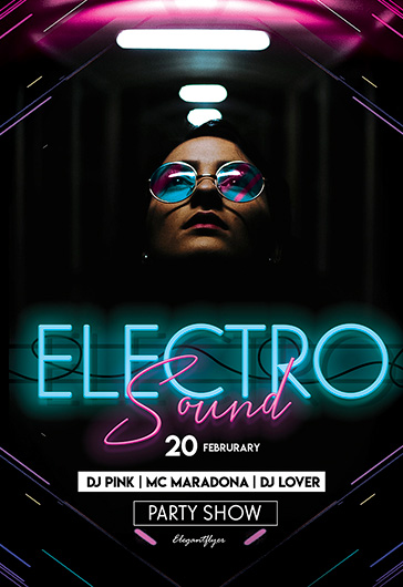 Electro Sound \u2013 Free PSD Flyer Template + Facebook Cover + Instagram