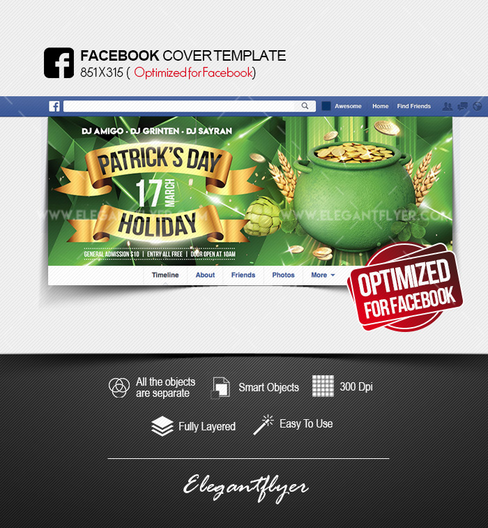 St Patrick\u0027s Day Holiday \u2013 Facebook Cover PSD Template \u2013 by