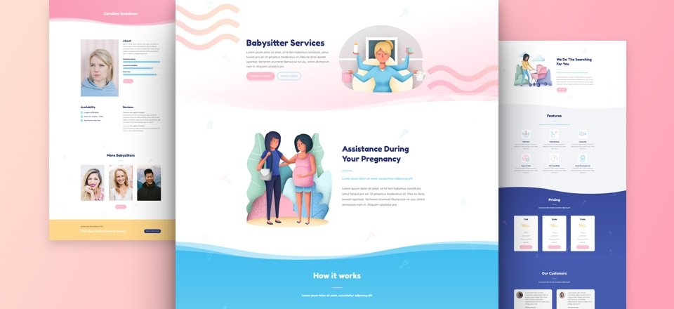 Get a Charming FREE Babysitter Layout Pack for Divi Elegant Themes - the babysitter online free