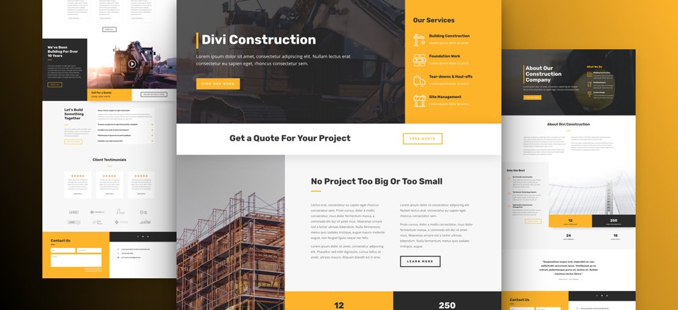 Get a FREE Construction Company Layout Pack for Divi Elegant
