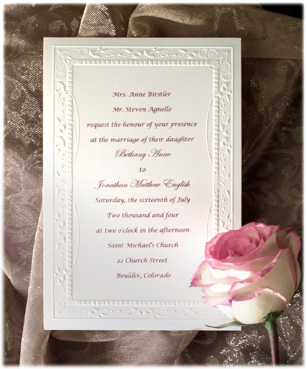 Formal Wedding Invitation Wording Etiquette (Parte Two