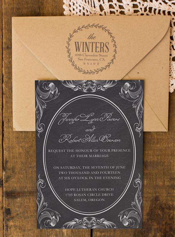 wedding invites black and white