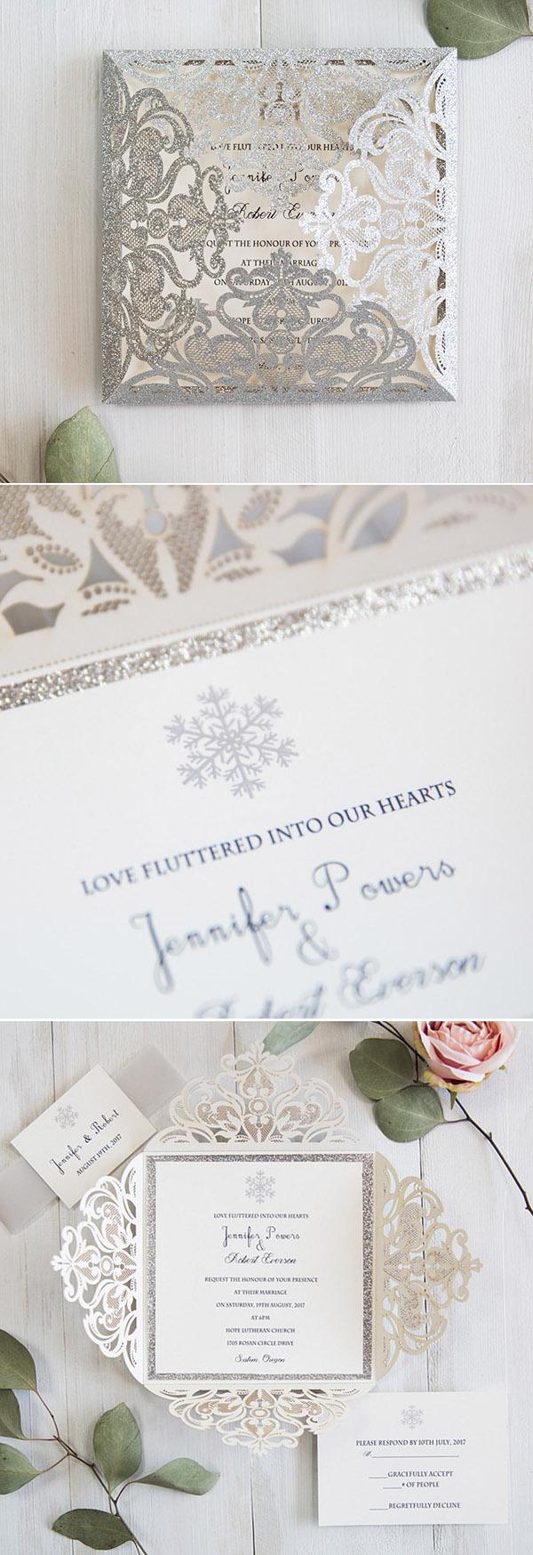 Romantic Snowflake Wedding Invitations Ideas For Winter