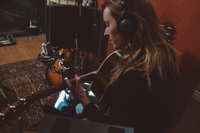 Recording acoustic guitars, M/S, with Avril.