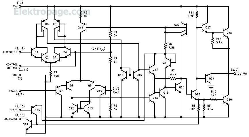 schematic of 556timer 556 internal circuit 555 556 timer info www