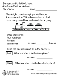Fourth Grade Place Value Worksheet