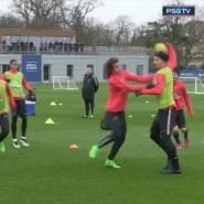 Ibrahimovic finge una agresión de David Luiz en el entrenamiento del PSG (Vídeo)