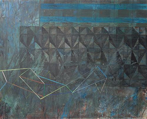'Plattenbau und Betonstrukturwand (G 5)', Acryl auf Leinwand, 80 x 100 cm, 2014
