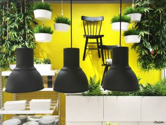 Bright Yellow Kitchen Accessories Display with Leafy Plants at IKEA, Birmingham - The Patterns and Colours of IKEA at www.elistonbutton.com - Eliston Button - That Crafty Kid – Art, Design, Craft & Adventure.