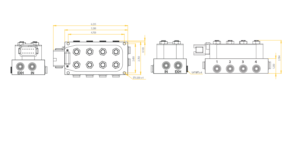 AccuAir VU4 4-Corner Valve Manifold Elite Kustomz Fabrication