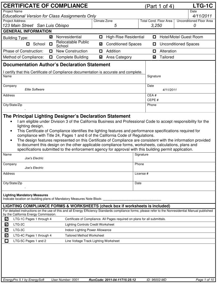 EnergyPro Reports - certificate of compliance template
