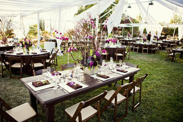 mix-of-buffet-tables-and-round-tables-wedding-reception-tent - wedding reception round tables