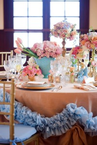 Turquoise Pink and Gold Reception Table Decor - Elizabeth ...