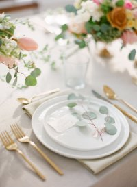 Place Setting with Gold Flatware - Elizabeth Anne Designs ...