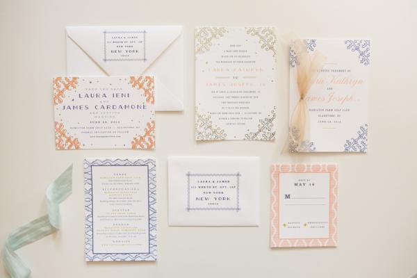 Peach and Navy Wedding Invitations - Elizabeth Anne Designs The