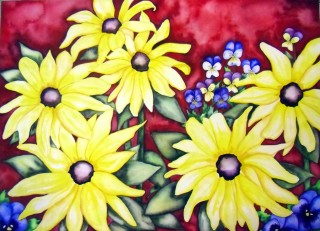 Rudbeckia Black Eyed Susan Pansy Johnny Jump Up Viola Red and Yellow painting flower art