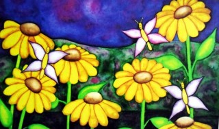 Yellow Daisies smiling Butterflies mountains wet on wet watercolor children's art