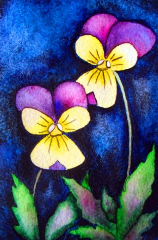 engagement painting Violas love flowers