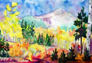 Aspen trees Byers Peak painting landscape fall watercolor painting Fraser, Colorado art plein air