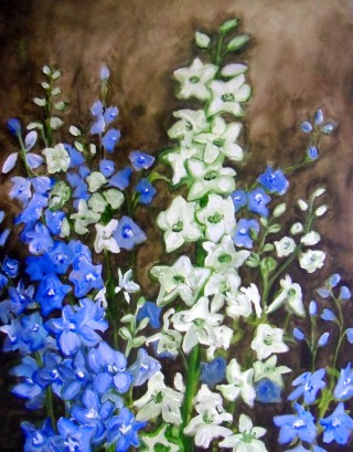 delphinium blue white flowers oil painting
