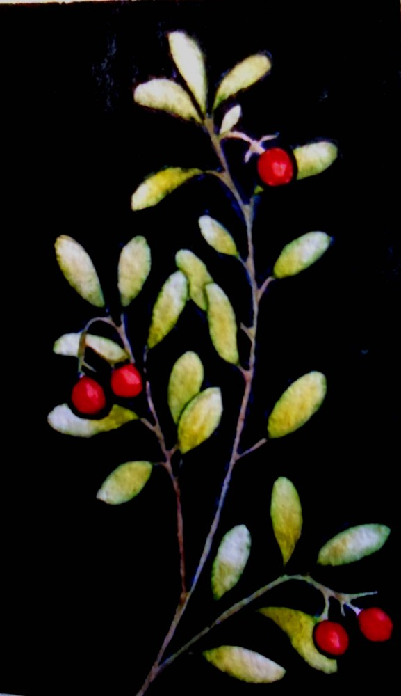 Colorado botanical art Kinnickinnick berry berries Experimental Forest Plein Air Watercolor