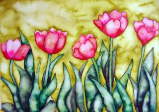 Pink Tulips Fauve art watercolor wet on wet Elizabeth Kurtak Art Gallery Winter Park. Colorado