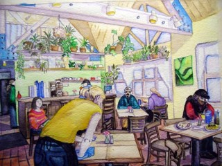 Sharkeys Fraser, Colorado Breakfast mountain life original watercolor art women working beauty women in business Elizabeth Kurtak Art Gallery